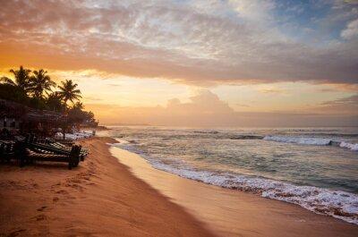 Tropical beach at sunrise, Sri Lanka.