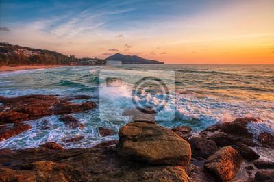 Tropical beach sunset.
