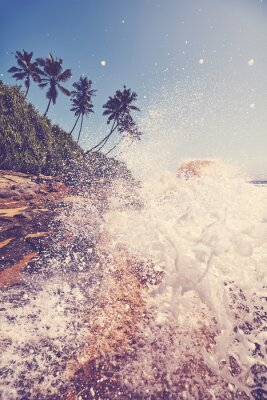 Tropical beach with wave crashing against rocks, color toning applied.
