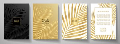 Obraz Tropical cover design set with palm branch (golden leaf) print on background. Holiday black and gold exotic pattern for vector wedding card, luxury menu template, summer holiday poster