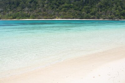 Tropical island and sand beach with clear blue sea water