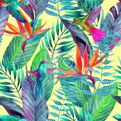 Tropical jungle szwu. Kwiatowy wzór tła.