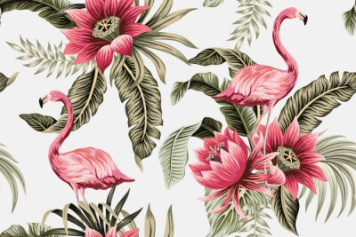Obraz Tropical vintage pink flamingo, pink hibiscus, palm leaves floral seamless pattern grey background. Exotic jungle wallpaper.