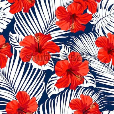 Obraz Tropikalne kwiaty i liście palmowe na tle. Bezszwowy. Wektor wzór.