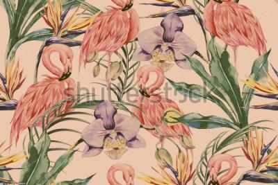 Obraz Tropikalne kwiaty, liście palmowe, rośliny dżungli, orchidea, kwiat rajskiego słońca, różowe flamingi, tło kwiatowy wzór, egzotyczne tapety botaniczne, styl vintage boho