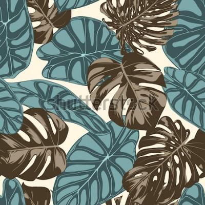 Obraz Tropikalne Liście. Wzór z ręcznie rysowane liście Monstera i Alocasia. Egzotyczny raport dla tekstyliów, tkanin. Bezszwowe tło wektor z roślin tropikalnych. Liście w dżungli. Efekt akwareli.