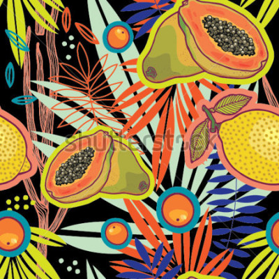 Obraz Tropikalny lato ogród przy noc podpis wzorem.