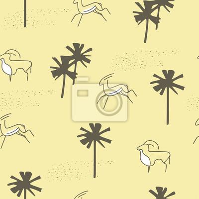 Tropikalny nadruk z dłoni i zwierząt