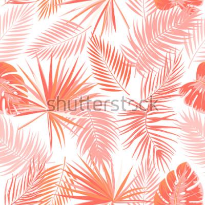 Obraz Tropikalny wektor wzór w Żywy kolor koral. Główna koncepcja trendu. Project botaniki, liści palmy dżungli.