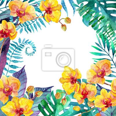 Tropikalnych liści. Kwiatowy wzór tła.