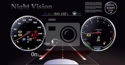 Tryb widzenia w nocy na tle reflektorów samochodowych