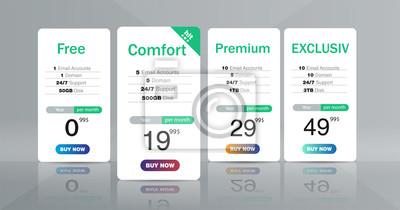 Trzy banery taryfowe. Tabela cen w sieci Web.