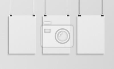 Obraz Trzy białych plakatów wiszący makieta 3d rendering