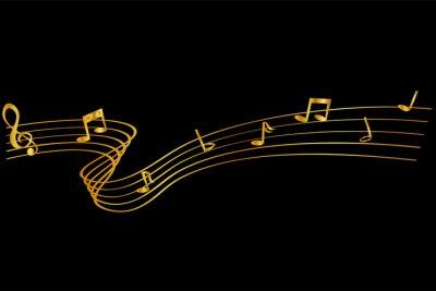Obraz trzy style złotej linii machającej nutą muzyczną, dla twojego projektu elementu