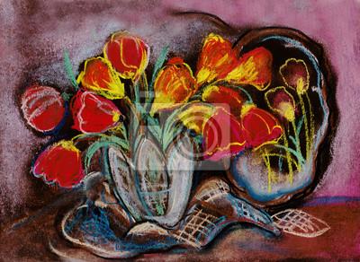 Obraz Tulips in crystal vase