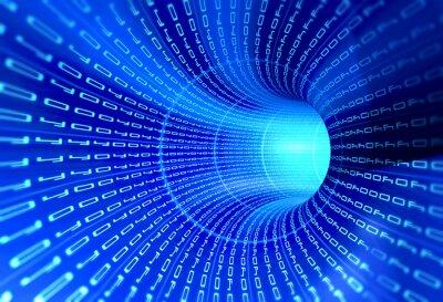 Obraz Tunel kod binarny - koncepcja internet