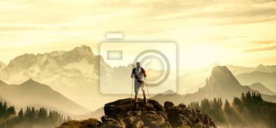 Obraz Turystą na szczycie