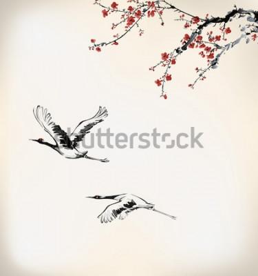 Obraz tusz żuraw i zimowe słodycze