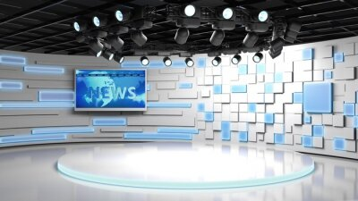 Obraz Tv studio. News room. Blye and red background. General and close-up shot. News Studio. Studio Background. Newsroom bakground. The perfect backdrop for any green screen or chroma key video production
