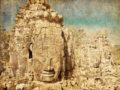 Obraz Twarze starożytnej świątyni Bayon w Angkor Wat w stylu retro i grunge