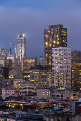 twilight over San Francisco downtown and financial district from Russian hill in California, USA