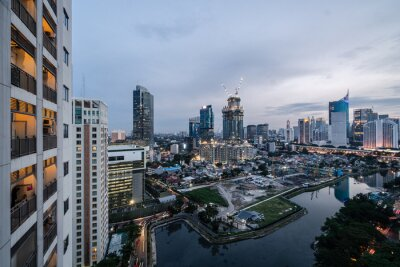 Twilight over the Jakarta business district in Indonesia capital city