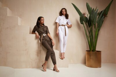 Obraz Two beautiful woman fashion model brunette hair friends wear overalls suit casual style sandals high heels accessory clothes safari Sahara journey summer hot collection plant flowerpot wall stairs.