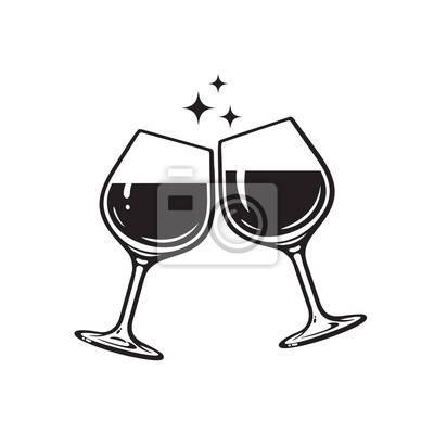 Obraz Two glasses of wine. Cheers with wineglasses. Clink glasses icon. Vector illustration on white background.