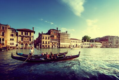 Obraz two gondolas in sunset time, Venice, Italy