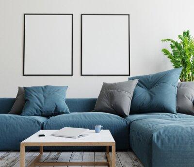 Obraz Two mockup poster frames in modern interior background. 3D render. 3D illustration.