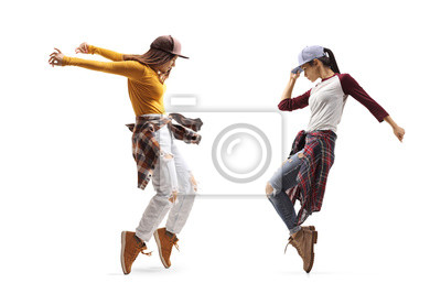 Obraz Two young females dancing street dance style