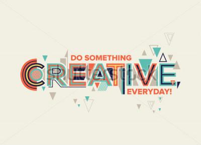 Obraz Twórczy. Nowoczesny design typograficzny w stylu geometrycznym. Kreatywne projektowanie grafiki ściennej, plakatu typograficznego, reklamy, grafiki internetowej i grafiki przestrzeni biurowej.