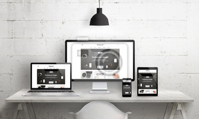 Obraz Twory Creative deks na promocję agencji projektujących strony internetowe. Nowoczesna, czytelna i szybka promocja witryn internetowych na różnych urządzeniach. Projektant biurko biurko widok z przodu.