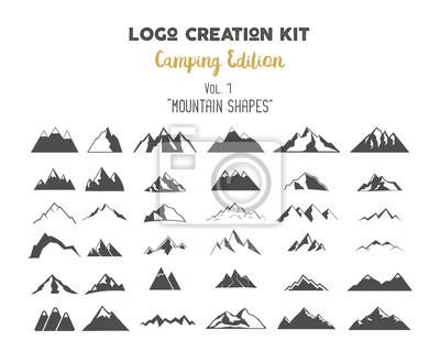 Obraz tworzenie logo Zestaw wiązki. Camping zestaw Edition. Górskie kształty wektorowe i elementy Stwórz własną etykietę na świeżym powietrzu, pustynia retro łatkę, Przygody rocznika odznaki, turystyka znac
