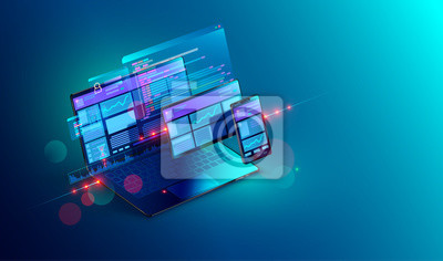 Obraz Tworzenie stron internetowych i kodowanie. Witryna programistyczna dla wielu platform. Adaptacyjna strona internetowa układu lub interfejs sieciowy na ekranie laptopa, tabletu i telefonu. Ilustracja k