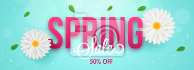 Obraz Typography of spring with daisy flowers and 50% discount offer. Sale header or banner design for advertising concept.