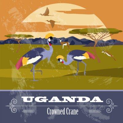 Obraz Uganda, Afryka. Retro stylizowany wizerunek.