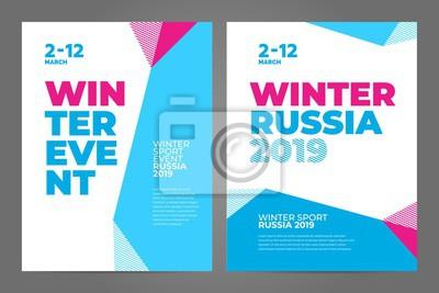 Obraz Układ szablonu projektu plakatu na zimowe wydarzenie sportowe, turniej lub mistrzostwo. Trend 2019.