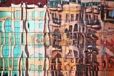 Obraz Ulica Streszczenie mirrorred w budynku szkła