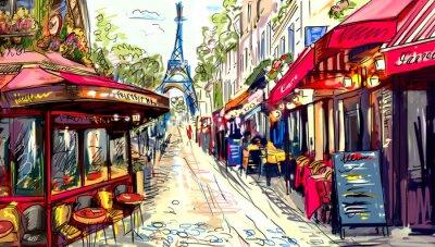 Obraz Ulica w Paryżu - ilustracja