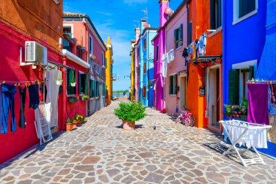 Obraz Ulica z kolorowymi budynkami w Burano wyspie, Wenecja, Włochy. Architektura i zabytki Wenecji, Wenecja pocztówka