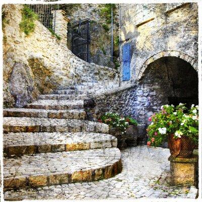 Obraz Ulice stary włoski siebie wiosek Casperia, artystyczny obraz