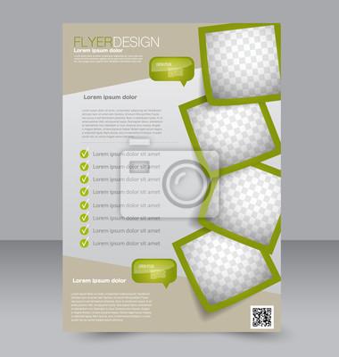 Obraz Ulotka szablon. Projekt broszury. Edytowalne plakat A4 dla biznesu, edukacji, prezentacji, stron internetowych, okładka magazynu. Zielony kolor.