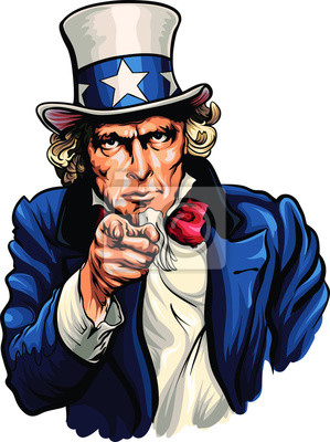 Obraz Uncle Sam vector illustration with pointing hand.