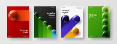 Obraz Unique pamphlet A4 design vector illustration bundle. Vivid 3D balls company identity concept composition.