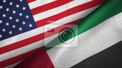 Obraz United States and United Arab Emirates two flags textile cloth, fabric texture