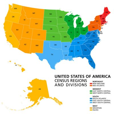 Obraz United States, Census regions and divisions, political map. Region definition widely used for data collection and analysis. The most commonly used classification system. English. Illustration. Vector.