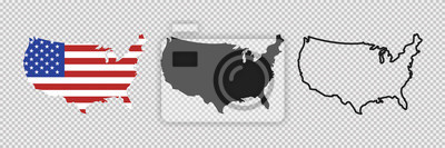 Obraz United states map. Linear icon. Transparent background. Vector isolated elements. Usa map icon line symbol.