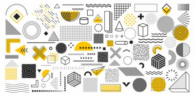 Obraz Universal trend geometric shapes. Collection of 100 geometric shapes. Memphis design elements for Magazine, leaflet, billboard, sale, web, advertisement, poster. Outline hatching forms or dots