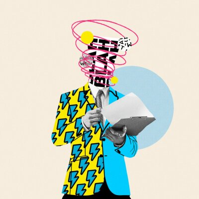 Obraz Unstoppable talks in head. Comics styled yellow suit. Modern design, contemporary art collage. Inspiration, idea concept, trendy urban magazine style. Negative space to insert your text or ad.